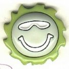 Smiley face with sunglasses button..modern snap-together, lime, white and green plastic button