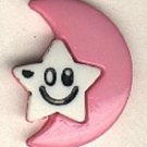 Moon and star smiley face button..realistic modern snap-together, pink and white plastic button