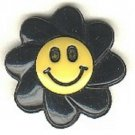 Smiley face button..realistic modern snap-together, gold and black plastic button