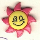 Sunflower Smiley face button..realistic modern snap-together, dark  pink and yellow plastic button