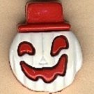 Jack-o-lantern button..realistic modern snap-together, red and white  plastic button