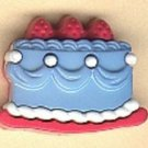 Cake button..realistic modern snap-together, pink, white, blue plastic button