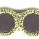 Sunglasses button..realistic modern snap-together, black and gold with glitter plastic button