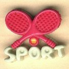 Tennis sport  button..realistic modern snap-together, green and pink plastic button
