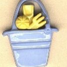 Pail with tools button..realistic modern snap-together, blue and yellow plastic button