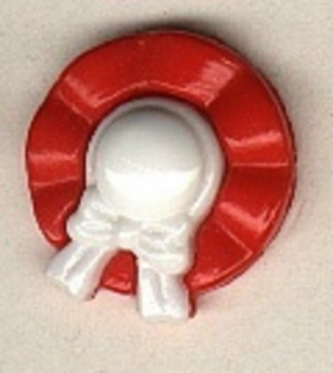 Hat button..realistic modern snap-together, red, white plastic button