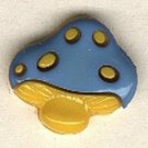 Mushroom button..realistic modern snap-together, gold and blue plastic button