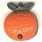 Orange button..realistic modern snap-together, green and orange plastic fruit  button