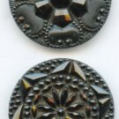 2 Antique black glass buttons hand pressed