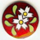 Cloisonne enamel  flower button vintage button