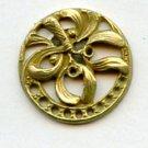 Mistletoe button Art Nouveau brass button one piece pierced vintage button