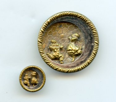 Pierrot and Pierrette theatre buttons antique brass buttons
