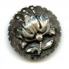 Molded bright cut pewter button with Primrose flower button late 19th century