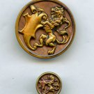 Rampant lion and shield buttons brass with wood background vintage buttons
