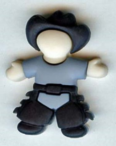 Little Cowboy button realistic modern snap-together plastic button
