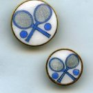 Tennis buttons 2 alike different sizes enamel in gilt brass B/m vintage buttons