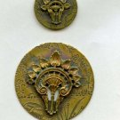 2 Hair Comb buttons brass antique with allover 'wallpaper' design
