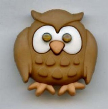 Owl button realistic modern plastic snap-together button