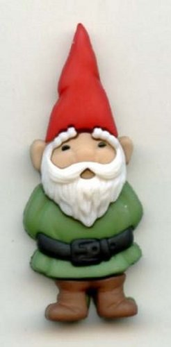 Gnome button realistic modern snap-together plastic green color  button