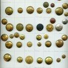 Card of 53 foreign uniform antique buttons