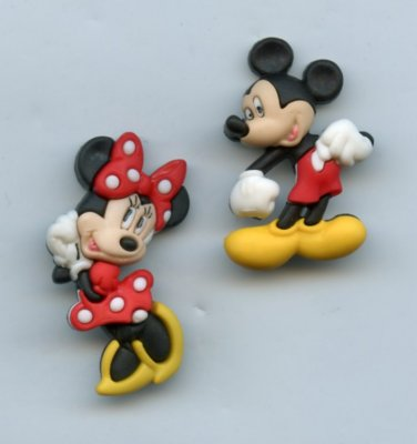 Mickey and Minnie Mouse buttons realistic modern snap-together plastic no shank involvement