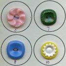 8 COLT vintage plastic buttons different patterns
