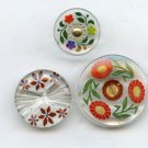 3 floral clear glass with painted back buttons vintage buttons