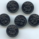 6 Navy dungaree buttons vintage plastic buttons