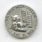 First Moon Landing pictorial button aluminum metal button