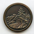 Alpine scene button large brass antique button
