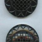 2 alike carved bakelite large black coat buttons NICE!