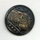 Train on tracks button buffed celluloid 30's large button