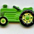 Tractor  button realistic brass with hand painted green enamel