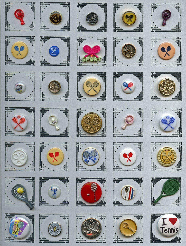 35 Tennis sport theme buttons metal glass plastic