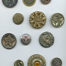 12 antique metal buttons medium and large