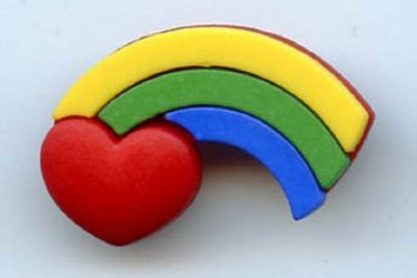 Rainbow button realistic modern snap-together plastic no shank involvement