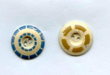2 Aluminum stencil button vintage damaged