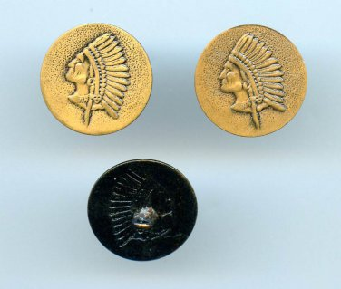 3 alike Native American head buttons vintage brass buttons