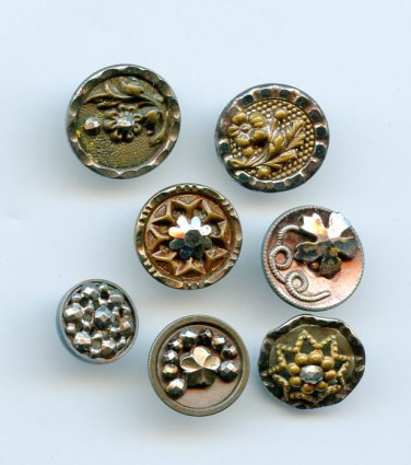 Steel cup buttons 1 is blue steel antique 7 small buttons dated late 19th century