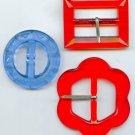 3 vintage transparent glass belt buckles and slide