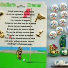 GOLF theme buttons plus card of pinch-back metal golf items
