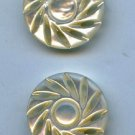 2 alike pierced mother of pearl buttons medium size antique buttons