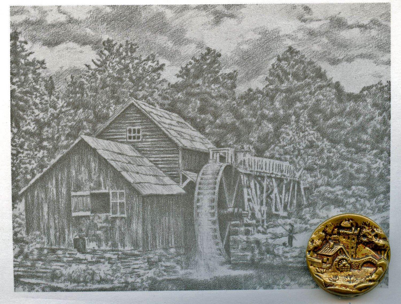 1 Scene Castle bridge watermill antique button