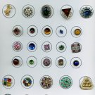 Card of 35 glitzy vintage and antique buttons with rhinestones/pastes