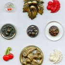 Cherries fruit buttons antique vintage & 1 modern