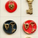 Locks and keys buttons vintage buttons