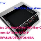 Laptop 2nd Hard Drive DVD Bay Caddy 12.7mm SATA to SATA F ACER/ASUS/DELL/TOSHIBA