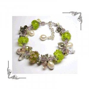 Rose Garden - Stunning Artisan Lampwork - Sterling Silver - Freshwater Pearls - Swarovski Bracelet