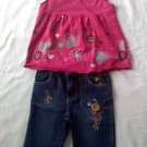 Colorful Capri Jean with flower detailing with Cute Shirt to match (24 months)