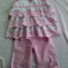 Adorable Girls 2-Piece Multi-Layered Blouse with Checkered Pants (24 months)